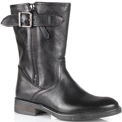 Высокие ботинки Cafe Noir из черной кожи с молнией с внешней стороны, фото