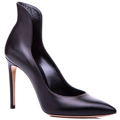 Туфли-лодочки Casadei черного цвета с фигурной щиколоткой и каблуком-шпилькой, фото