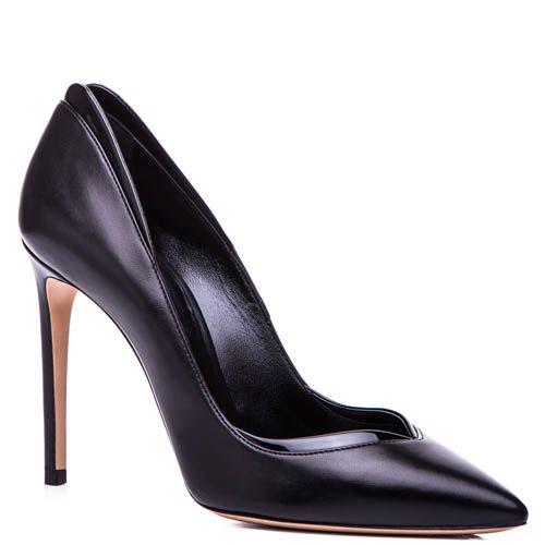 Туфли-лодочки Casadei черного цвета с v-образным вырезом на носочке и лаковой окантовкой, фото