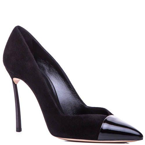 Туфли-лодочки Casadei черного цвета замшевые с лаковым носком и стальным каблуком-шпилькой, фото