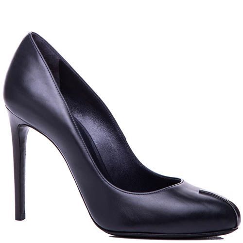 Туфли-лодочки Casadei темно-синего цвета с металлической вставкой на носке, фото
