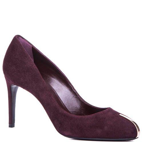 Туфли-лодочки Casadei замшевые бордового цвета с металлической вставкой на носке, фото
