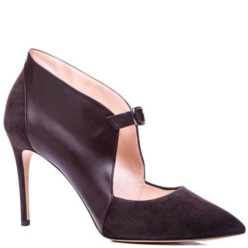 Туфли Casadei из кожи и замши коричневого цвета с пряжкой, фото