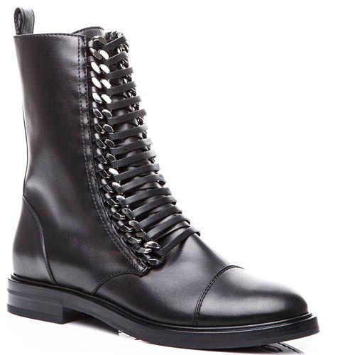 Ботинки Casadei черного цвета с металлическими цепочками для шнуровки, фото