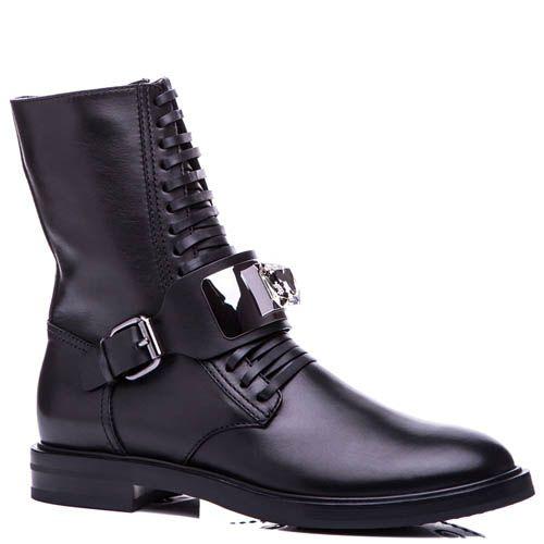 Ботинки Casadei черного цвета на шнуровке с перемычкой украшенной кристаллом, фото