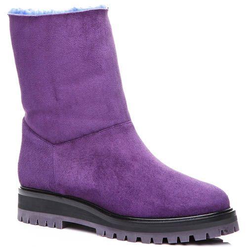 Полусапожки Casadei замшевые фиолетового цвета на меху, фото