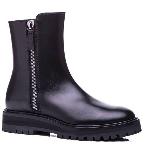 Ботинки Casadei черного цвета с рельефной подошвой и металлической молнией, фото
