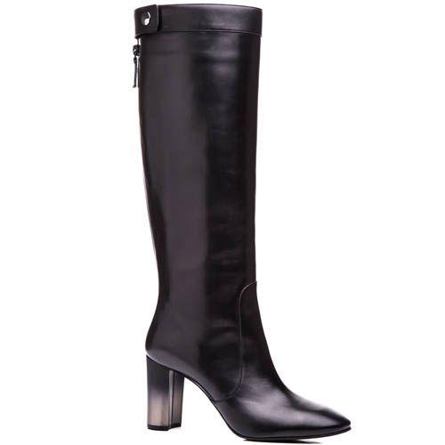 Сапоги Casadei осенние черного цвета на устойчивом каблуке с эффектом деграде, фото