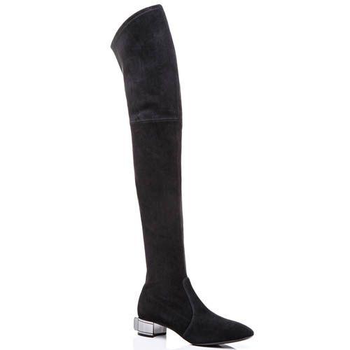 Ботфорты Casadei осенние черного цвета замшевые с большим кристаллом Swarovski на каблуке, фото