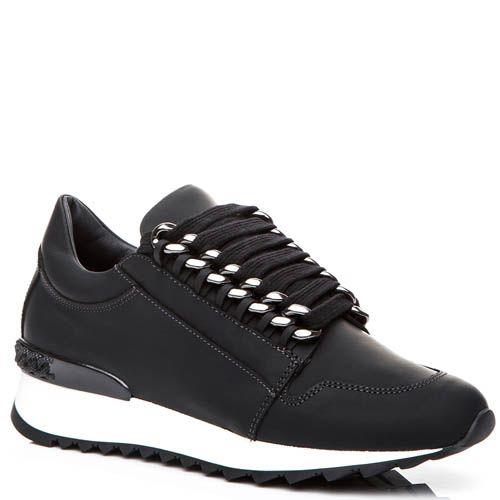 Кроссовки Casadei черного цвета с металлическими цепочками для шнуровки, фото