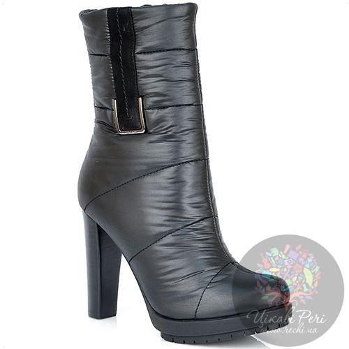 Высокие ботинки Calvin Klein стеганые текстильные утепленные на каблуке, фото