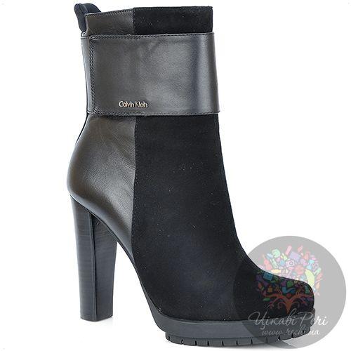 Ботинки Calvin Klein из кожи и замши на каблуке и протекторной платформе, фото