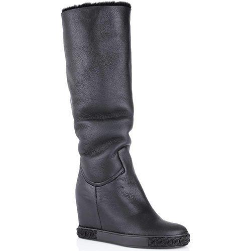 Сапоги Casadei черные кожаные с меховым отворотом, фото