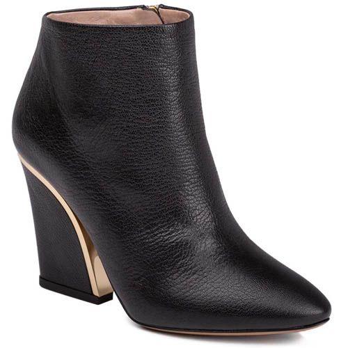 Ботильоны Chloe черного цвета с золотистой вставкой на каблуке, фото