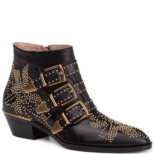 Ботинки Chloe черного цвета с пряжками и золотистыми заклепками, фото