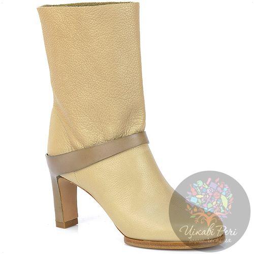 Ботинки Chloe осенние кожаные бежевые на каблуке, фото