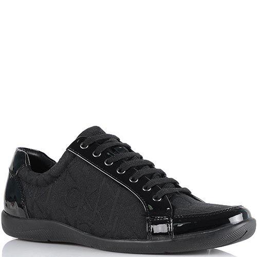 Женские кроссовки Calvin Klein черного цвета из кожи и брендированного текстиля, фото