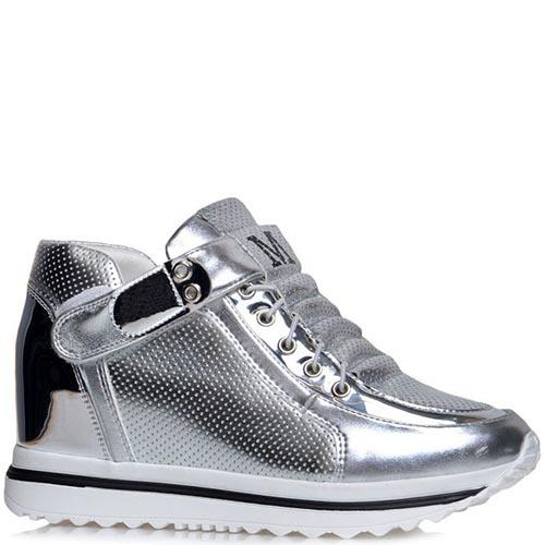 Серебристые кроссовки Jierkang с перфорированными вставками, фото