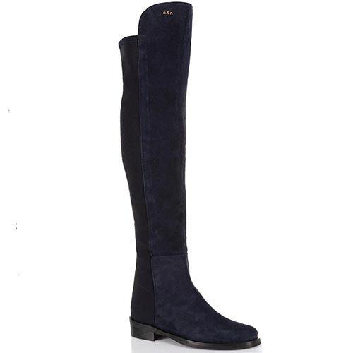 Сапоги-ботфорты NilaNila замшевые темно-синие на низком ходу, фото