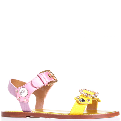 Сандалии Dolce&Gabbana желтого цвета со стразами, фото
