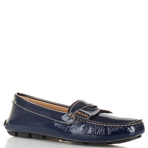 Туфли-мокасины Prada из лаковой кожи темно-синего цвета, фото