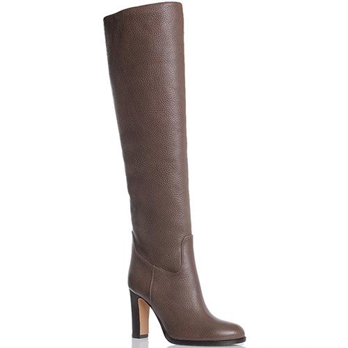 Высокие сапоги из зернистой кожи The Seller JD коричневого цвета, фото