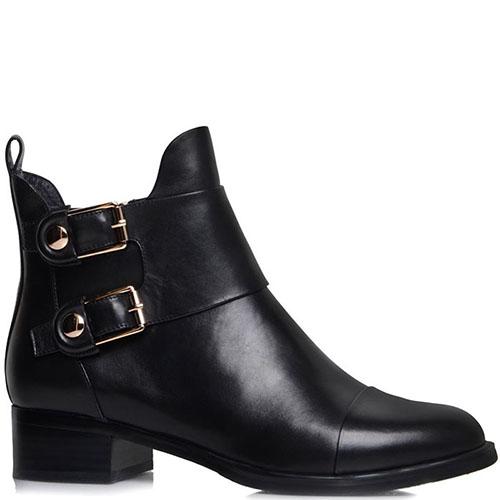 Кожаные ботинки Prego черного цвета с декоративными ремешками, фото