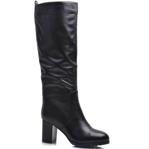 Сапоги Prego зимние кожаные на каблуке квадратной формы высотой 7 см, фото
