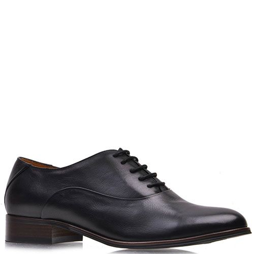 Туфли-оксфорды Prego из натуральной кожи черного цвета на низком каблуке, фото