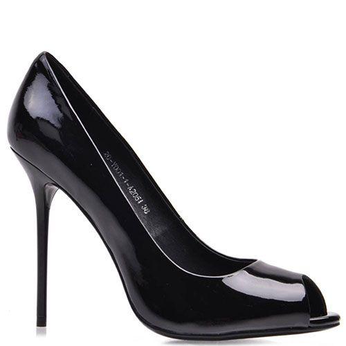 Лаковые туфли Prego из натуральной черной кожи с открытым носочком на шпильке, фото