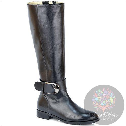 Сапоги Del Gatto осенние черные кожаные на низком широком каблуке, фото