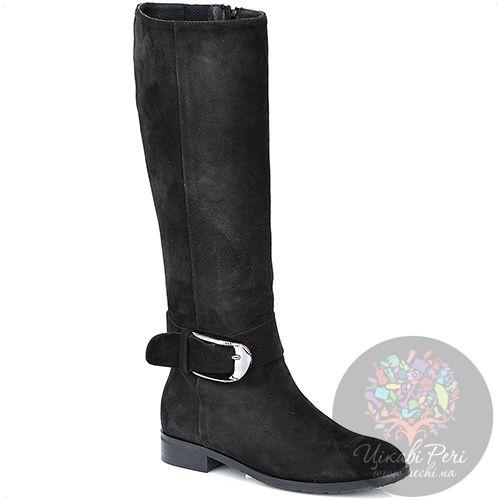 Сапоги Del Gatto осенние черные замшевые на низком широком каблуке, фото