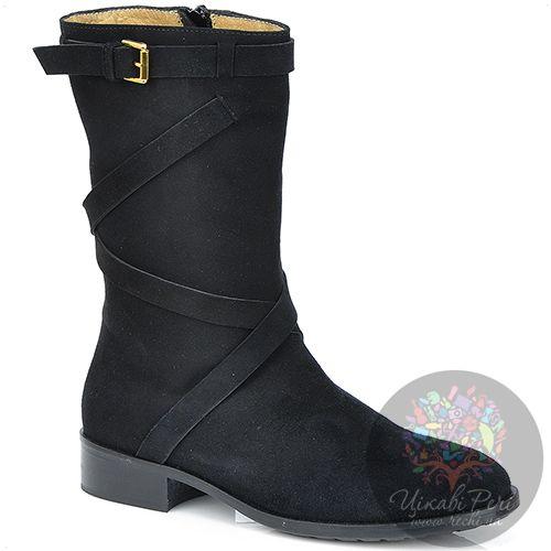 Ботинки Del Gatto высокие осенние черные замшевые на низком ходу, фото