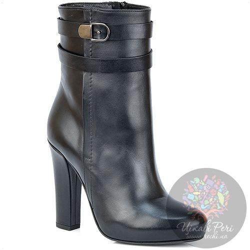 Ботинки Del Gatto осенние из черной кожи на каблуке-столбике, фото