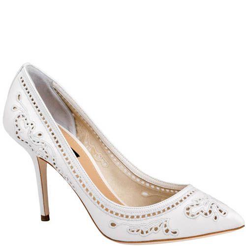 Туфли-лодочки Dolce & Gabbana белого цвета с перфорированными узорами, фото