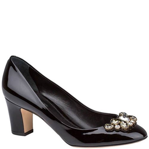 Туфли Dolce & Gabbana лаковые черного цвета с кристаллами, фото