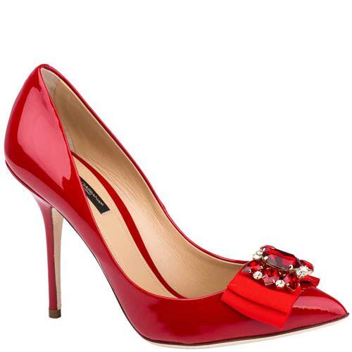 Туфли-лодочки Dolce & Gabbana красного цвета декорированные камнями и лентами, фото