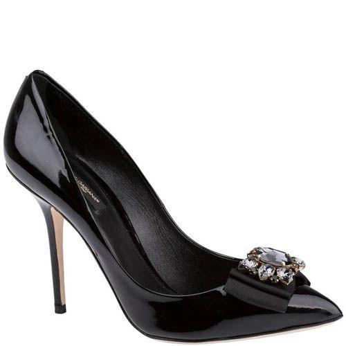 Туфли-лодочки Dolce & Gabbana черного цвета декорированные камнями и лентами, фото