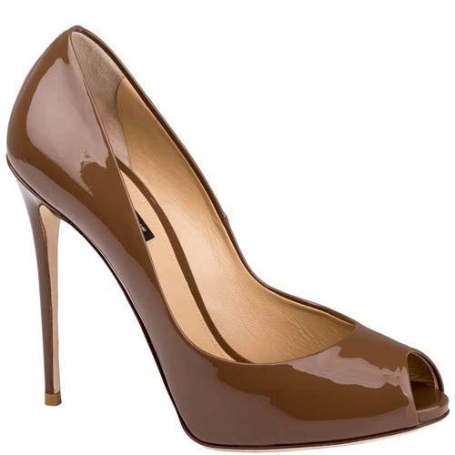 Туфли-лодочки Dolce & Gabbana лаковые коричневого цвета с открытым носочком, фото