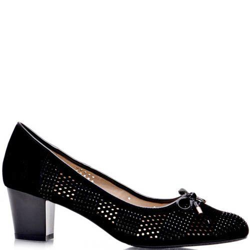 Туфли Prego черного цвета замшевые перфорированые с лаковым бантиком, фото