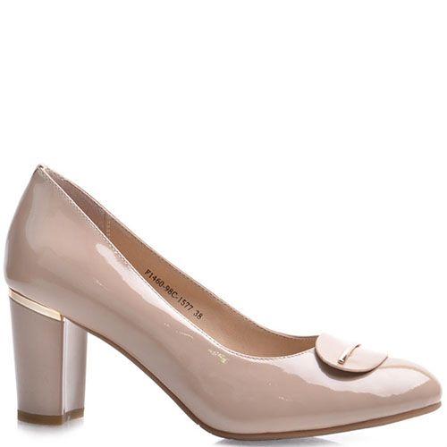 Туфли Prego из натуральной лаковой кожи бежевого цвета, фото
