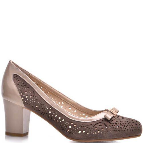 Туфли Prego бежевого цвета с замшевой перфорированой вставкой коричневого цвета, фото
