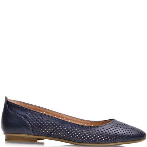 Балетки Prego кожаные синего цвета, фото