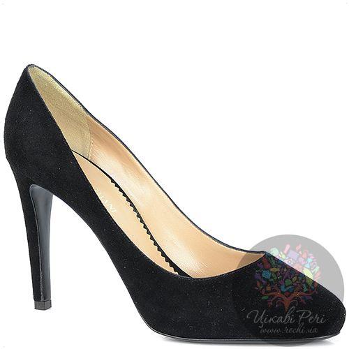 Туфли Emporio Armani на шпильке и скрытой платформе замшевые черные, фото