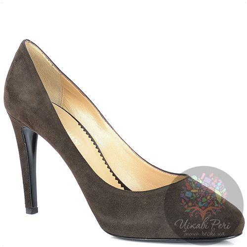 Туфли Emporio Armani из коричневой замши на шпильке и платформе, фото