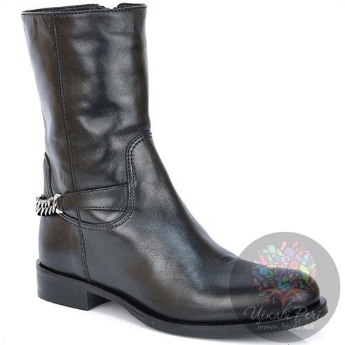 Ботинки Emporio Armani кожаные черные на низком ходу с цепью, фото