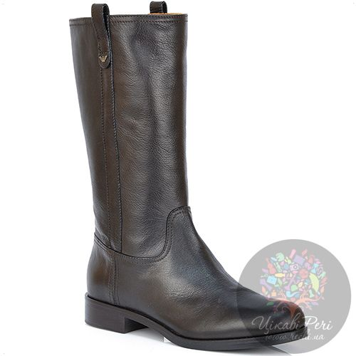 Полусапожки Emporio Armani кожаные темно-коричневые на низком каблуке, фото