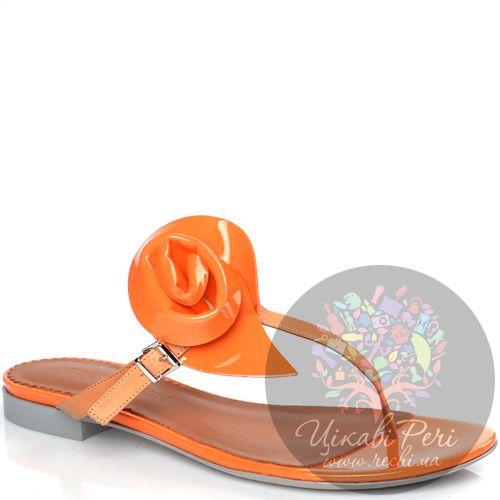Сланцы Emporio Armani оранжевые из гладкой и лаковой кожи, фото