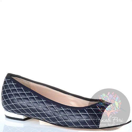 Балетки Essere кожаные черно-синие стеганые белой ниткой с белым лаковым носком, фото