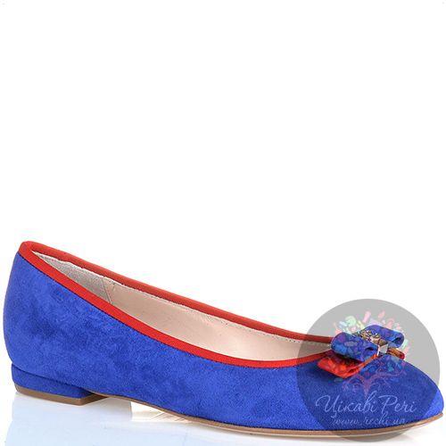 Балетки Essere замшевые ярко-синие с бантиком и красной отделкой, фото